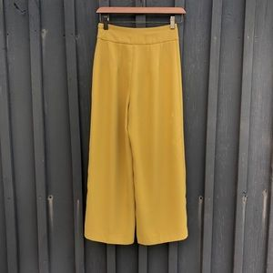 Express Pants - High waisted yellow culottes
